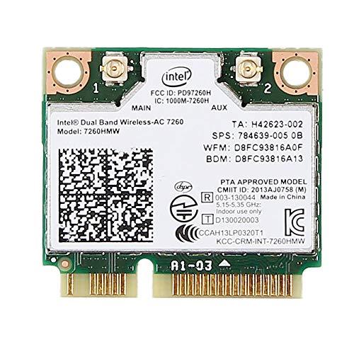 Para Hp 710661-001 756753-001 784639-005 Intel Dual Band Wireless-ac 7260 7260hmw Half Mini Pcie Pci-Express Wlan Módulo de Tarjeta Wifi 802.11 Ac 867mbps Bluetooth Bt