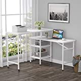 Tribesigns L Shaped Rotating Standing Desk, Industrial 360 Degrees Free Rotating Corner Computer Desk with Storage Shelf, Reversible Rustic Office Desk with Wood Veneer (Glossy White)
