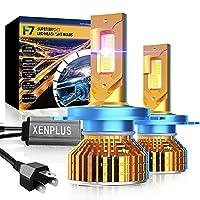 【120W業界最高ハイパワー】XENPLUS H4 led ヘッドライト Hi/Lo切替 新車検対応 24000LM(12000LM*2) 120W(60W*2) 650%超高輝度 6500K 12V車対応 ハイパワー LEDバルブ 光軸調整可能 定電流回路搭載 高速回転冷却ファン付け 防止キャンセラー付きー 2個入り ホワイト
