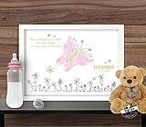 Fußabdruck Bild Schmetterling, Geschenk zur Geburt, individualisierbar auf Papier oder Leinwand