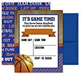 Deluxe Basketball Party Invitations, Birthday, Sports Game, Baby Shower Invites- 20 Large Double Sided 5 x 7 Inch Cards with Blue Envelopes Made in the USA -  Pink Pixie Studio