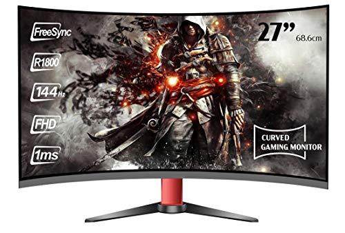 HKC M27G2 Gaming Monitor, senza cornice, curved 68,6 cm (27 pollici) (FHD 1920x1080 pixel, 1ms, HDMI, VGA, DisplayPort, 144 Hz, Free-Sync) nero