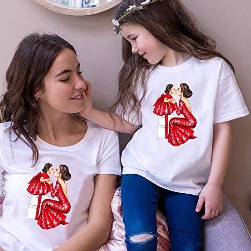 DRTWE Mamá Hija Camisetas Set Moda Mamá Niña En Vestido Rojo Estampado...