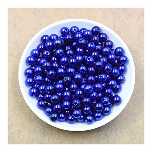 Weigeng - 100 cuentas redondas de perlas de colores de 8 mm para marcar joyas sueltas espaciadoras pulseras collares y joyas (color: azul real)