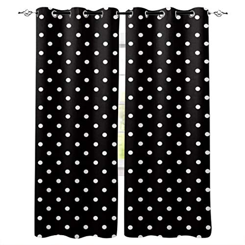 """Advancey Bedroom Window Curtain Panels Simple White and Black Polka Dot Thermal Insulated Curtains 2 Panels Set, Each 40"""" W x63 L"""