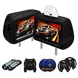 RoverOne 2 X 10,1 Pollici Auto Seggiolino Lettori DVD Poggiatesta Touch Button Monitor 1080P con Porta HDMI Supporta le Cuffie da Gioco USB SD AUX IR FM