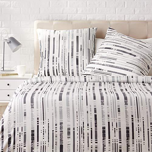 Amazon Basics - Juego de ropa de cama con funda de edredón, de satén, 155 x 220 cm / 80 x 80 cm x 2, Gris a rayas texturizado