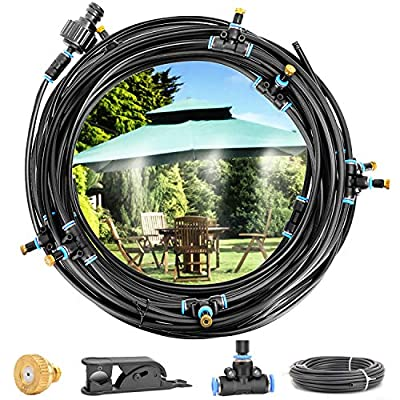 """Amagoing Misting System 42.65ft Outdoor Misters Cooling Kit with 15pcs Brass Nozzles+3/4"""" and 1/2"""" Faucet Connector for Patio Garden Greenhouse Trampoline"""