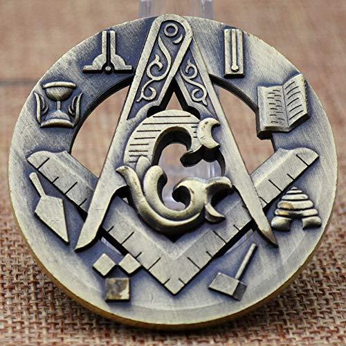 Masonic Challenge Coin Symbolic Square & Compass Masonic Auto Emblem