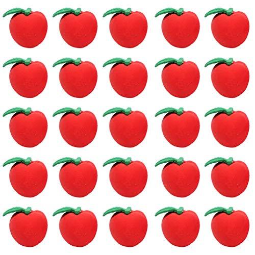 NUOBESTY 50pcs Radiergummis roter Apfel nette Radiergummipreise Geschenke für Kinderschulversorgung