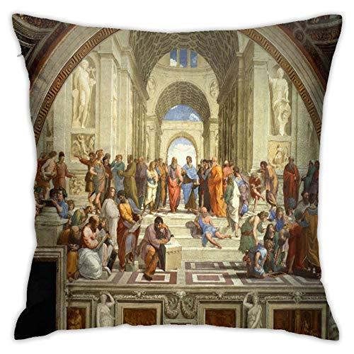 LOSNINA Fundas de Almohada, La Escuela de Atenas, Renacimiento Italiano, Artista, Rafael, Sofá temático Sofá Sala de Estar Interior Exterior Decoración del hogar (18 '* 18') 1 Pieza