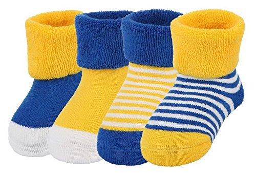 Y-BOA Lot 4 Paires Chaussette Sock Socquette Rayure Pois Bébé Coton Enfant Fille Garçon Souple Chaude Bleu 1-3ans