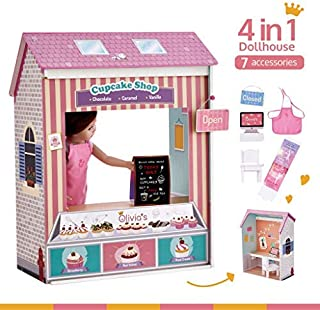 Olivia's Little World - Olivia's Classic 18 inch Doll Convertible Wooden 4-in-1 Play House/ Dollhouse | 4 Scenes with Accessories