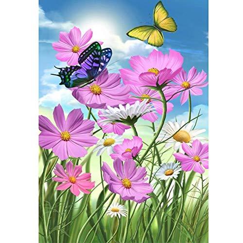 Kit fai da te per pittura con diamanti 5D per adulti, fiore a forma di fumetto con strass per ricamo a punto croce, decorazione per la casa da parete (farfalla colorata, 30,5 x 40,6 cm)