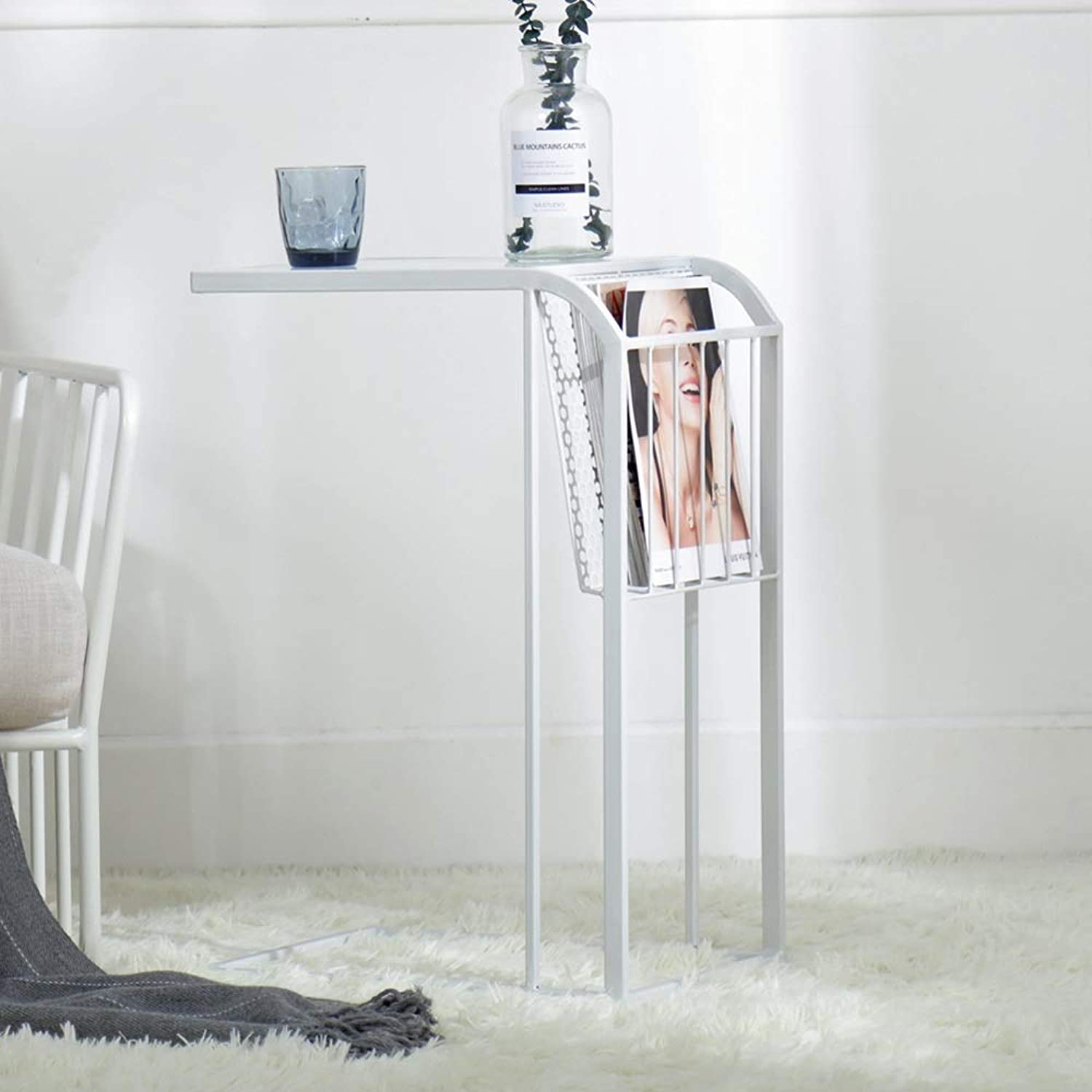 MEIDUO End Table Glass Nesting Tables Living Room Sofa Side for Living Room Bedroom (color   White)