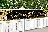 50 Globos Cumpleaños Decoracione Oro Negro, Decoración de Fiesta de 50 Cumpleaños, Photocall 50 Cumpleaños, Regalo 50 años, Pancarta de Fondo de 50 Aniversario, para Decoración de Fiesta Foto Prop