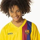 Juego de camiseta oficial del FC Barcelona de la temporada 19/20, tenue completo con camiseta de Barca y pantalón corto, 100% poliéster, camiseta y pantalones cortos, rojo, 140