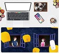 マウスパッド 漫画の風景大90X40Cmゲーミングマウスパッドオフィスホームタブレットコンピューター耐久性のあるコンピューターキーボードマウスパッド-(D)_90X40Cm