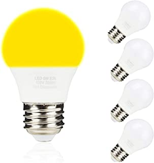 A15 5W LED Yellow Bug Light Bulbs,40W Equivalent,E26 Medium Base, 2000K, Non-dimmable, Outdoor Porch Lights,Night Light for Bedroom, 4 Pack