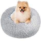 TAMOWA Round Dog Basket Cat Cushion Donut Basket, Dog Basket Cat Bed Extra Soft Comfortable and Cute, Cushion for Cats and Small Dogs of Medium Size, 80cm, Light Gray