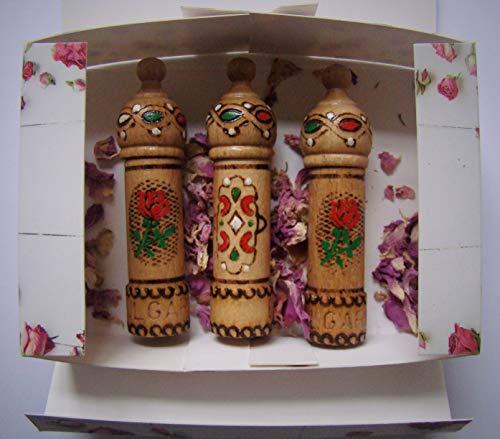 Parfüm mit Rosenöl, 3 Fläschchen x 2,1 ml Holz Souvenir Geschenk