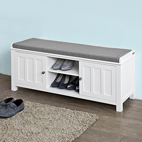 Haotian White Storage Bench with 2 Doors Removable Seat Cushion Shoe Cabinet Shoe BenchFSR35-WWhite