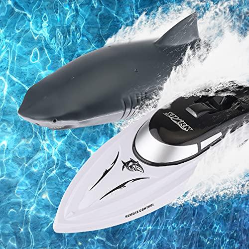 Barca Telecomandata 2 in 1 Motoscafo RC Barca con Squalo RC con Testa di Squalo RC e 2 Batterie Sostituibili Giocattolo di Simulazione di Squalo di Simulazione di Barca da Corsa Elettrica da 2,4 GHz