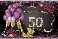 HD 10x7ftハッピー50歳の誕生日の背景輝く紫色の背景シャンパンハイヒールの靴紫のバラ風船パーティーの装飾レディガールポートレート写真撮影写真スタジオ背景