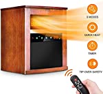 Electric Space Heater -1500W Infrared Heater with 3 Heat Settings, Remote Control&Timer, Room Heater with Overheat&Tip-Over Shut Off Protection, Low Noise, Wood Cabinet, L, Brown