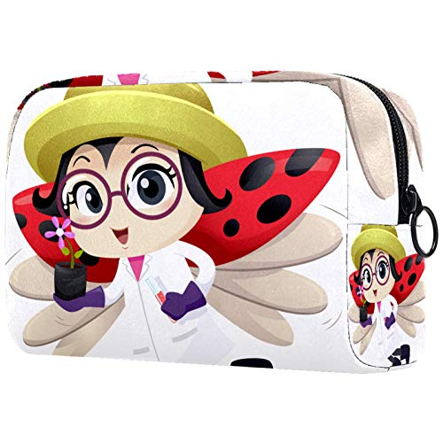Bolsa de cosméticos Bolsa de Maquillaje para Mujer para Viajar Llevar cosméticos Cambiar Llaves, etc.,Botánico Mascota Lady Bug Volando