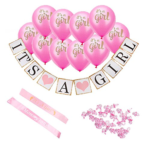 Baby Shower Decorations ~Its A Girl ~ Complete Set ~ 10 Balloons, 1 Banner, 2 Sashes, and 100 Small Acrylic Pacifiers as Table Confetti ~ Ideal Supplies for Gender Reveal Parties, Nurseries