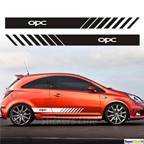 SUPERSTICKI Opel Performance Cebter Opc Seitenstreifen Auto Aufkleber Aufkleber Sticker Decal aus Hochleistungsfolie Aufkleber Autoaufkleber Tuningaufkleber Racingaufkleber Rennaufkleber H