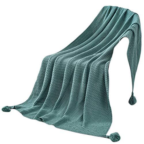 Manta nórdica punto borlas colgante piña B verde
