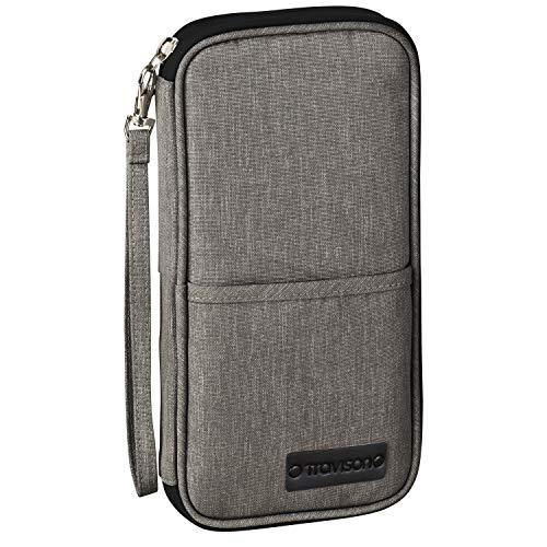 TRAVISON Reisepass-Tasche, RFID Schutz, für 4 Reisepässe, wichtige A4-Dokumente, Kredikarten, Ausweistasche für Tickets und Smartphone, für Mann und Frau – dunkelgrau 25x13cm