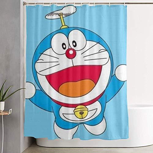 Cortina de Ducha Bamboo Doraemon Art Print, Colección de Decoraciones de baño de Tela de poliéster con Ganchos 60X72 Pulgadas