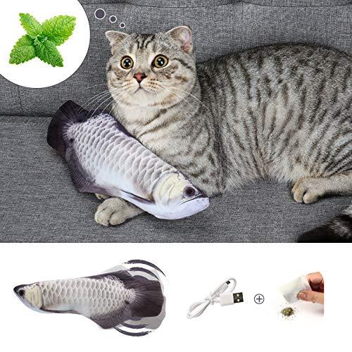 DazSpirit Katzenspielzeug Fisch, Elektrische Katze Spielzeug Fisch Katzenspielzeug Mit Katzenminze, Interaktiv Fisch Spielzeug Für Katzen, USB Aufladung, Waschbar, Für Katze Zum Spielen, Beißen