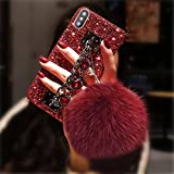 Case for Galaxy S20 FE,S20 Fan Edition Case,S20 Lite Case,Bling Glitter Gemstone Bracelet Shinny Chain Holder Rabbit Fur Pom Plush Ball Phone Case for Samsung Galaxy S20 FE 5G(Red Shell-Red)
