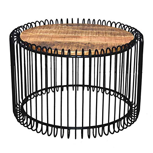 Couchtisch rund ø 70 cm Wohnzimmer Tisch Beistelltisch York Metall-Gestell schwarz matt o. reinweiss Farbe schwarz matt - Tabacco