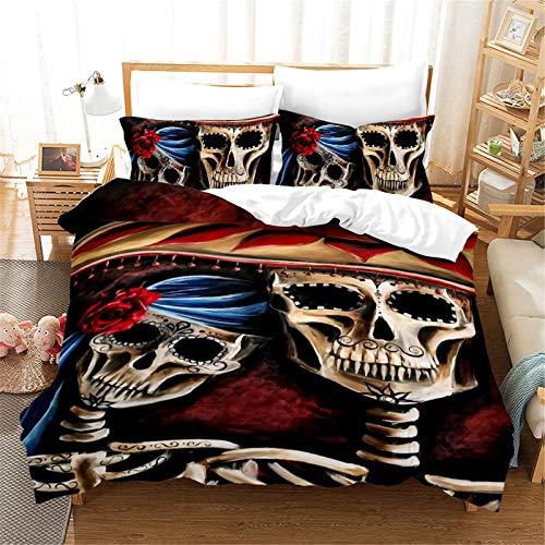 Funda Nórdica La Tela De Poliéster 3D Love Skull Es Suave Agradable para La Piel Y Fácil De Limpiar Juego De 3 Piezas 228x228cm
