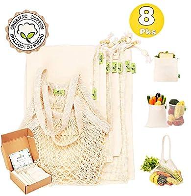 Reusable Produce Bags, 8pcs | Organic Cotton, Eco Friendly | Reusable Grocery Bags for Shopping, Washable,Tare Weight Tags | Reusable Mesh Produce Bags & Muslin Bags BONUS Reusable Sandwich Bags