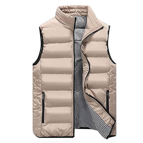 Gilet senza maniche da uomo, gilet trapuntato, giacca da esterno, escursionismo, leggero, casual, giacca classica con tasche con cerniera calda A-kaki XXXL
