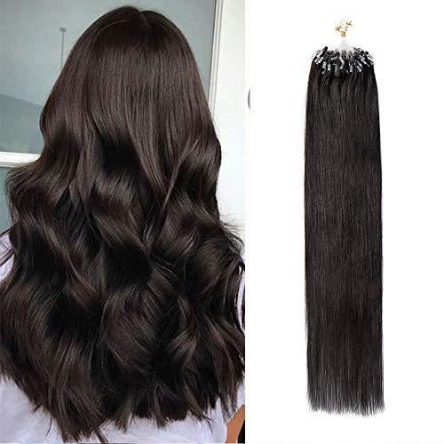 Silk-co 22 Pouces Extension Micro Loop Extension Anneaux Cheveux Naturel 50G, 100 Mèches X 0.5G/Mèche Extension A Froid - 1B Noir Naturel