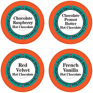 Hot Chocolate Lovers Variety Pack - Chocolate Raspberry, Red Velvet, Chocolate Peanut Butter, French Vanilla, Hot Cocoa 24 Count for Keurig Kcup Brewers