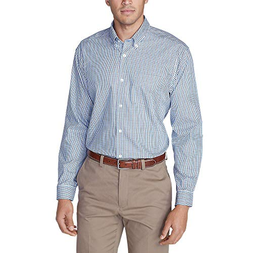 Eddie Bauer Men's Wrinkle-Free Classic Fit Pinpoint Oxford Shirt - Blues, Atlant
