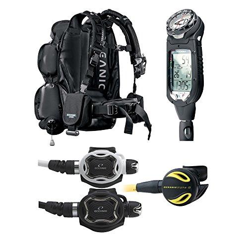 Oceanic Professional Scuba Diving Package JetPack Travel BCD ProPlus 3, Zeo Regulator, Alpha 8 Octo … (White Zeo Regulator, ONE SIZE)