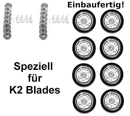 Hyper 4/8er Rollen XTR 84mm Black f. K2 Skates Inliner Kaufoption montiert mit ABEC 7+Spacer 6mm (8er Set Rolle 84mm+Kugell.ABEC-7+Spacer-6mm)