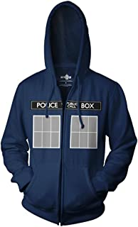 Doctor Who Call Box Window Adult Zip Hoodie