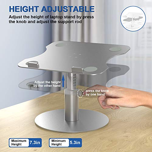 Adjustable Laptop Stand YoFeW, Aluminum Laptop Riser, Multi-Angle Height Adjustable 360°Rotation Notebook Stand Desktop Holder Compatible with Mac MacBook Pro Air, Lenovo, Dell XPS, HP(10-17