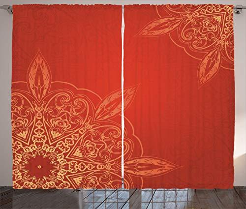 ABAKUHAUS Mandala Cortinas, Diseño romántico Radiante, Sala de Estar Dormitorio Cortinas Ventana Set de Dos Paños, 280 x 260 cm, Tierra Amarilla Vermillion