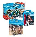 Geobra Brandstätter Playmobil Stuntshow - Juego de 3 carrera de karting 70292 + 70692 Duo Pack Stuntshow Team + 9357 Motocross.